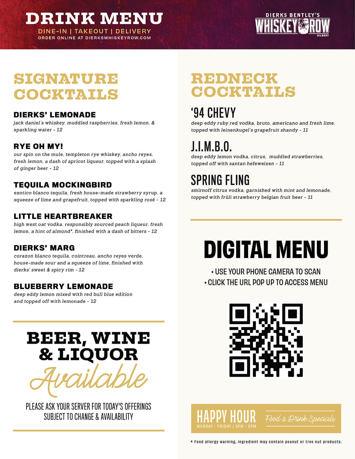 Gilbert Drink Menu